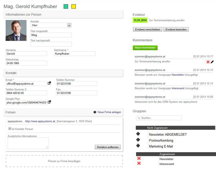 Die einfache und übersichtliche Personenverwaltung im CRM System von appsystems