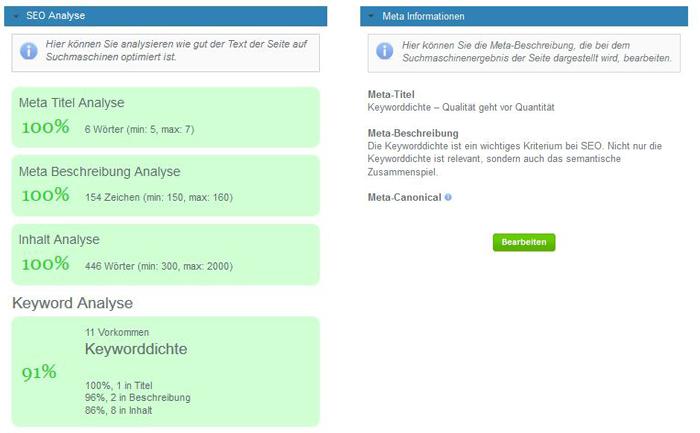 SEO Analyse und Meta Informationen auf einem Blick